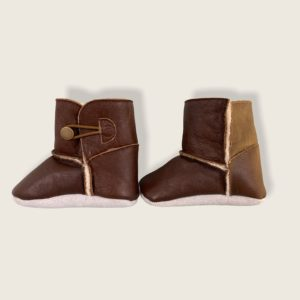 soft soled boots made from leather and wool